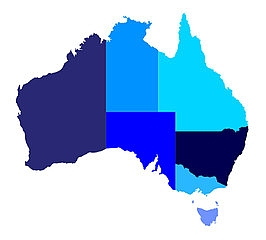 Image of Australia showing different states