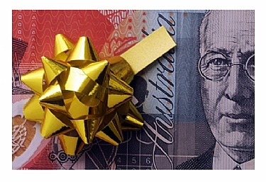 picture of money with gift bow